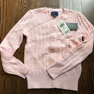 NWT Polo Girls light pink cable cardigan